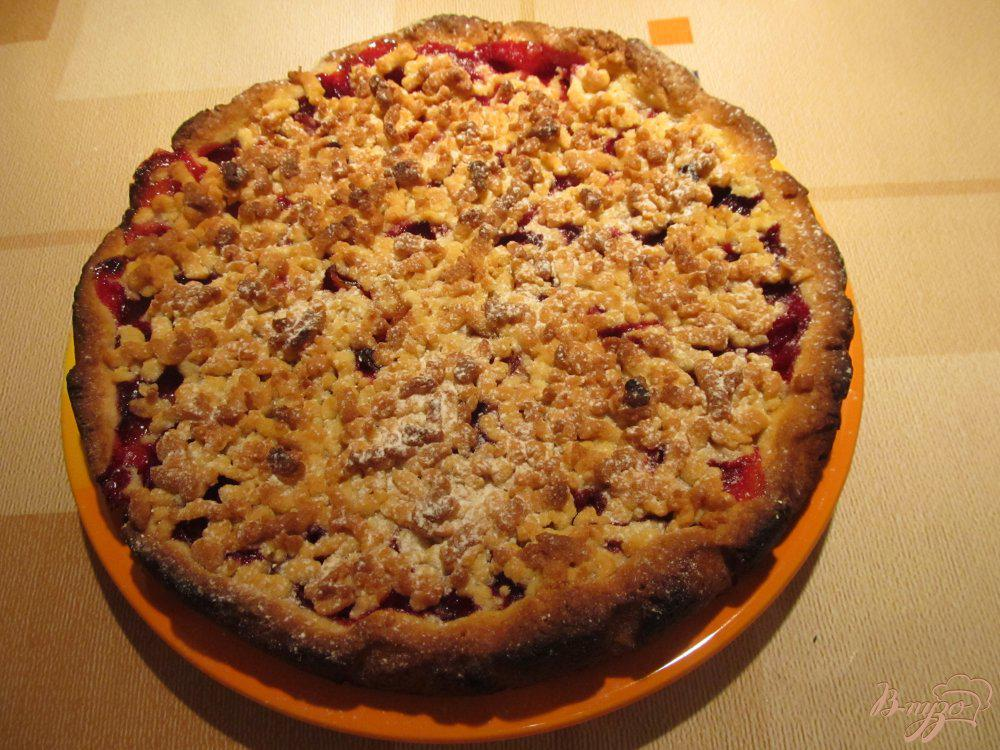тертый пирог со сливами рецепт с фото детали