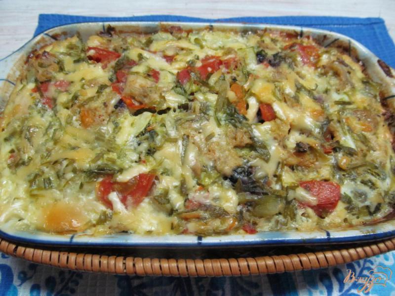 Фото приготовление рецепта: Макаронная запеканка с курицей и овощами шаг №6