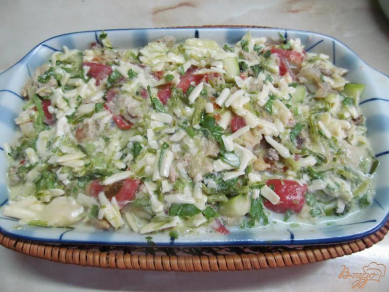 Фото приготовление рецепта: Макаронная запеканка с курицей и овощами шаг №5