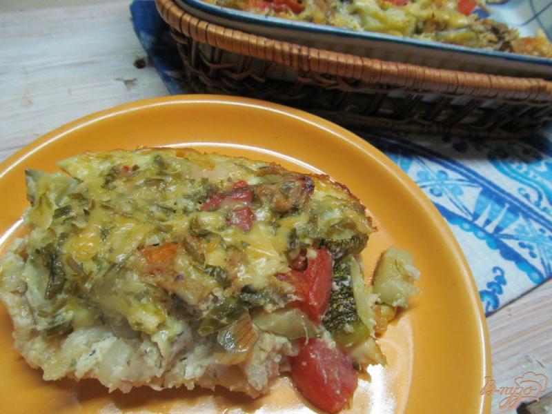 Фото приготовление рецепта: Макаронная запеканка с курицей и овощами шаг №7