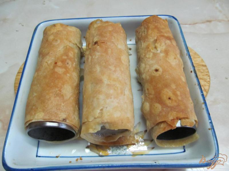 Фото приготовление рецепта: Трубочки из лаваша с творожной начинкой шаг №4