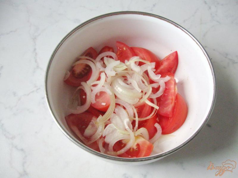 Фото приготовление рецепта: Помидоры в медово - соевом маринаде с чесноком и горчицей шаг №7