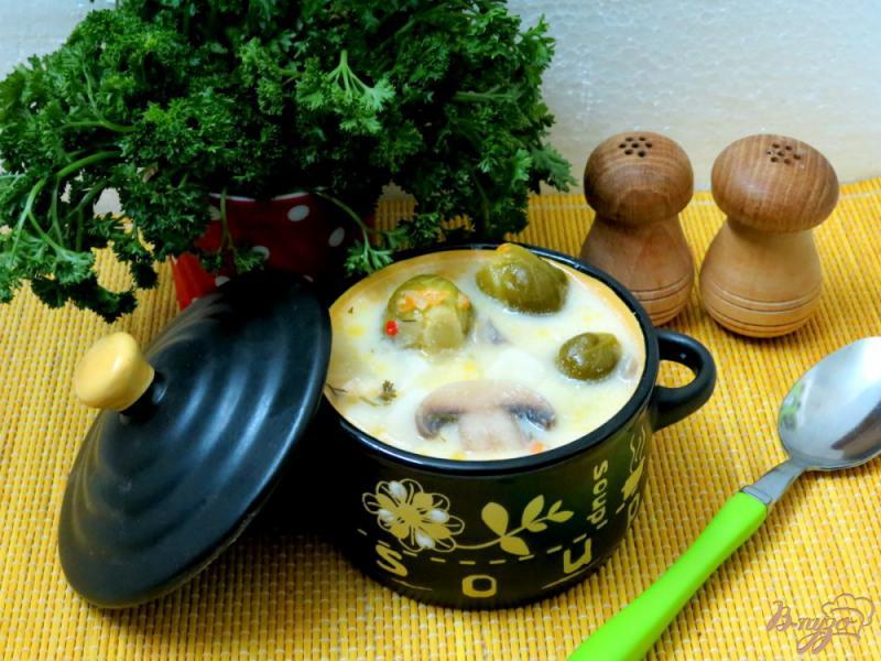 Фото приготовление рецепта: Суп с брюссельской капустой, шампиньонами и сырочком шаг №10