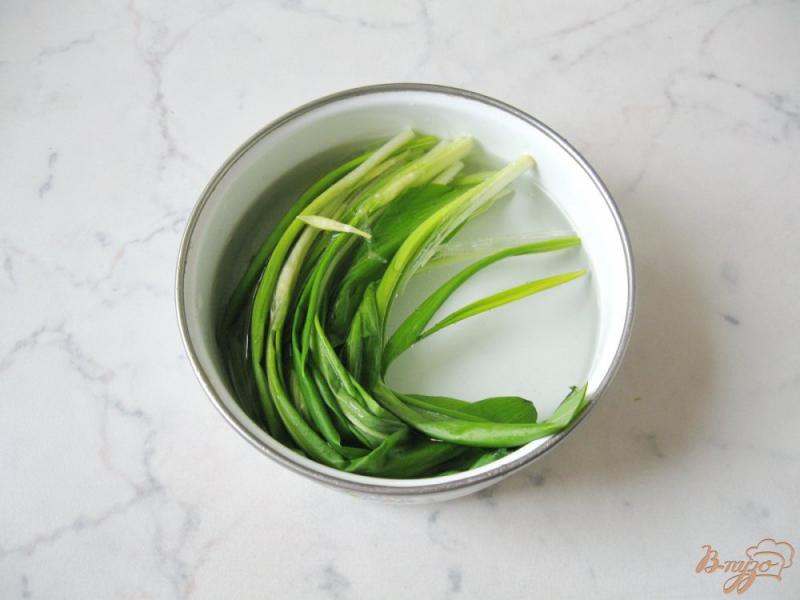 Фото приготовление рецепта: Весенний салат с огурцом, черемшой и помидором шаг №6