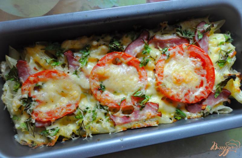 Фото приготовление рецепта: Запеканка из макарон с помидорами и сыром шаг №5