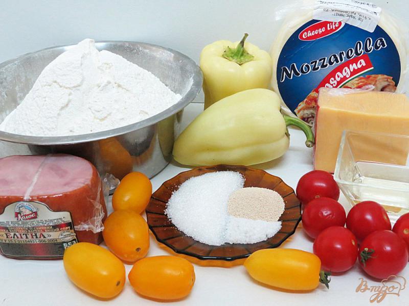 Пицца с моцареллой и ветчиной - рецепт пошаговый с фото