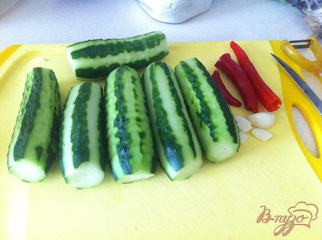 Фото приготовление рецепта: Малосольные огурчики с чили и чесноком шаг №1
