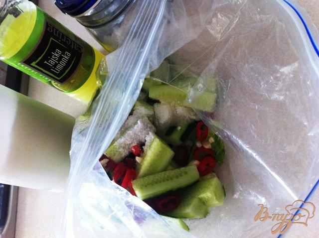 Фото приготовление рецепта: Малосольные огурчики с чили и чесноком шаг №3