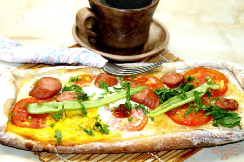 Фото приготовление рецепта: «Пиде» с сыром и помидорами шаг №6