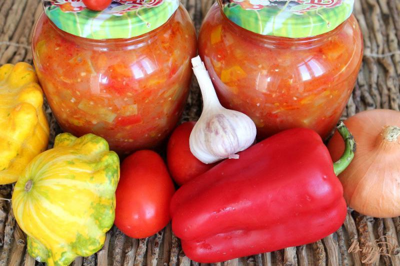 Фото приготовление рецепта: Патиссоны с перцем в томате шаг №9
