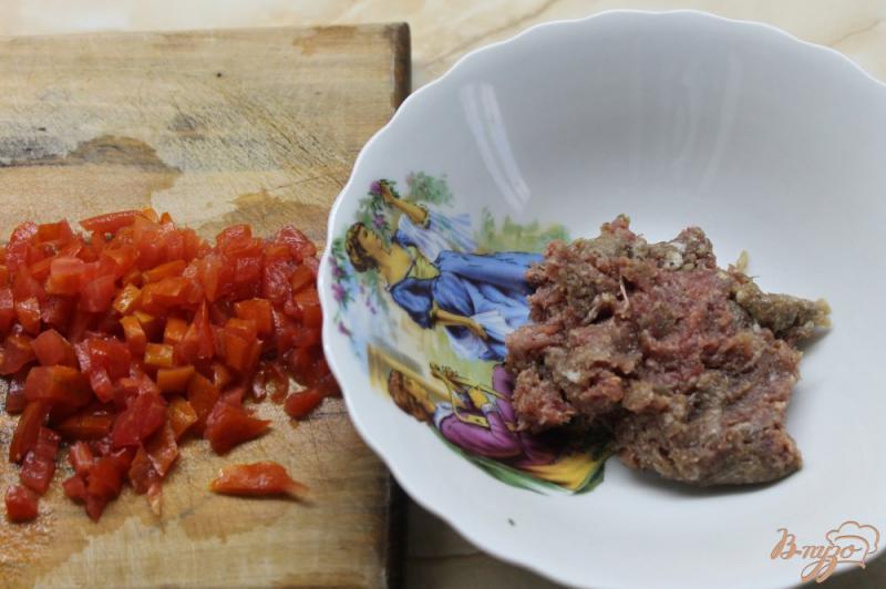 Фото приготовление рецепта: Кутабы с мясом и помидорами шаг №3