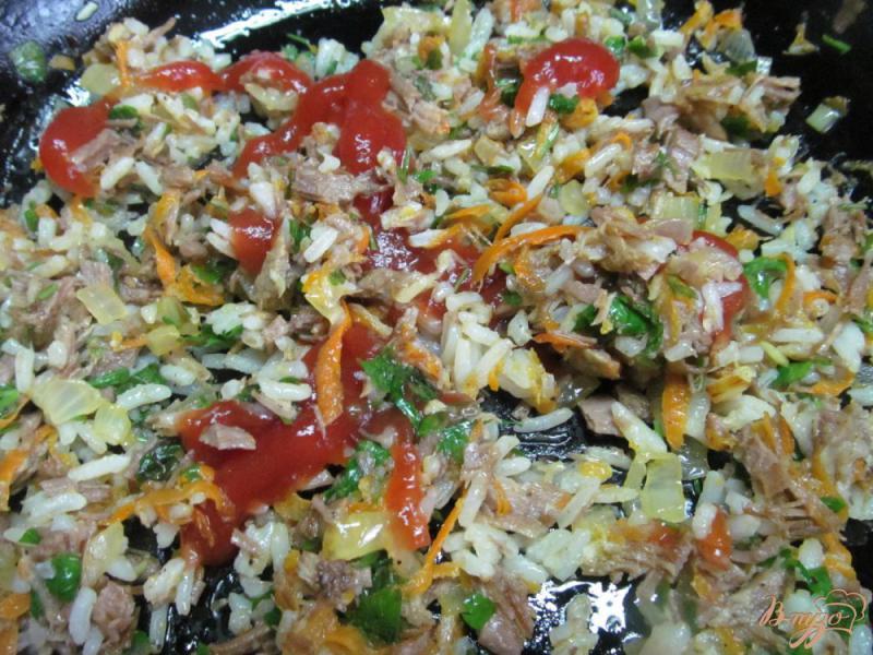 Фото приготовление рецепта: Кабачковые рулеты с мясом и рисом шаг №7