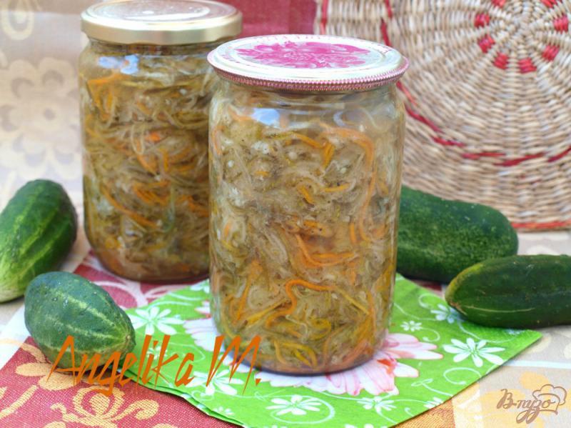 Фото приготовление рецепта: Салат из огурцов по-корейски на зиму шаг №6