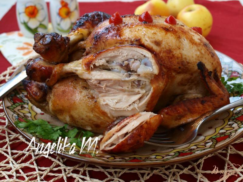 Фото приготовление рецепта: Курица с яблоками в рукаве шаг №5