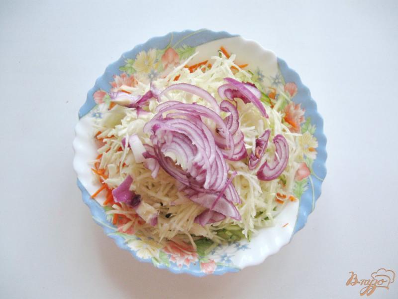 Фото приготовление рецепта: Салат с морковью, огурцом и капустой шаг №4