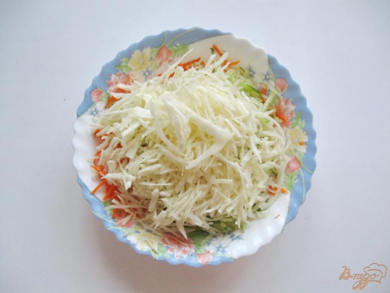Фото приготовление рецепта: Салат с морковью, огурцом и капустой шаг №3