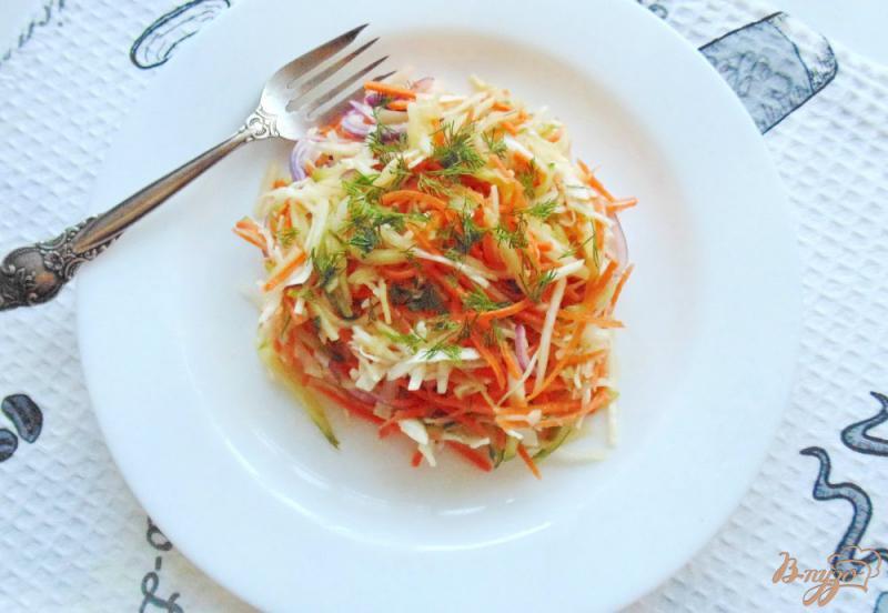 Фото приготовление рецепта: Салат с морковью, огурцом и капустой шаг №6