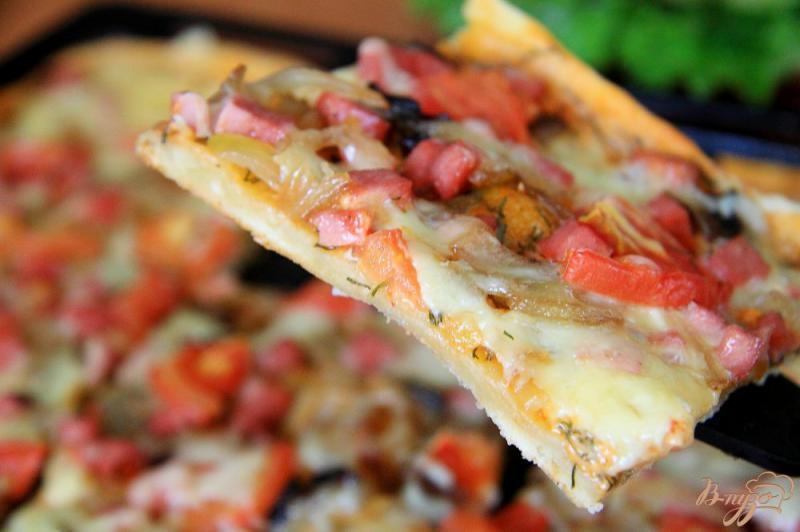 Фото приготовление рецепта: Быстрая пицца на бездрожжевом тесте шаг №9