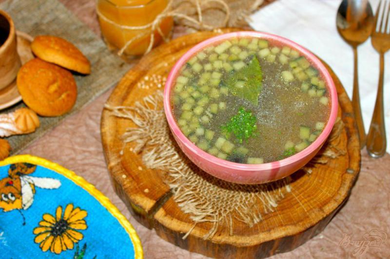 Фото приготовление рецепта: Гречневый суп с баклажаном и кабачком шаг №7
