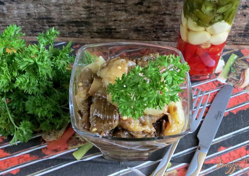 Фото приготовление рецепта: Закуска из запеченных баклажанов и перца шаг №8