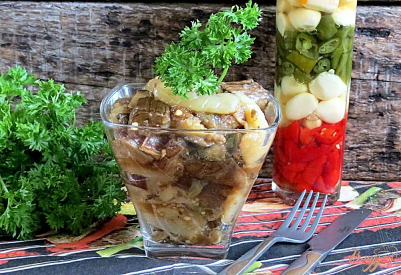 Фото приготовление рецепта: Закуска из запеченных баклажанов и перца шаг №9