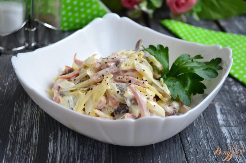 Фото приготовление рецепта: Салат с ветчиной и маринованными грибами шаг №5