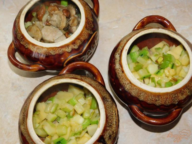 Фото приготовление рецепта: Мясо с овощами и грибами в горшочках шаг №5