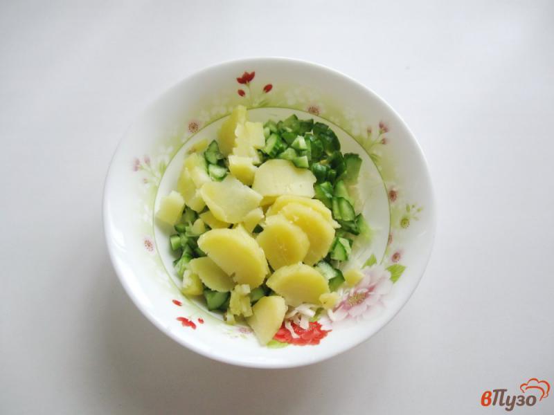 Фото приготовление рецепта: Салат из свежих огурцов и картофеля шаг №3