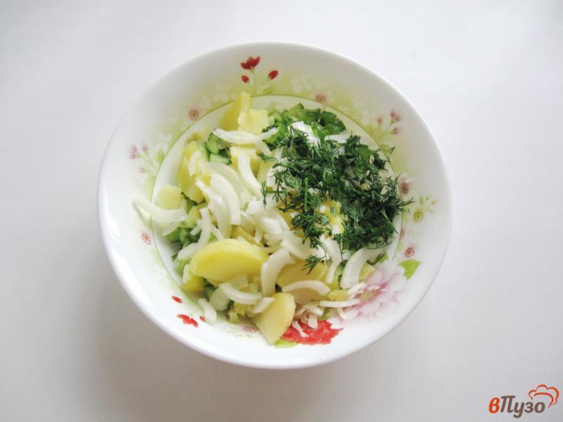 Фото приготовление рецепта: Салат из свежих огурцов и картофеля шаг №5