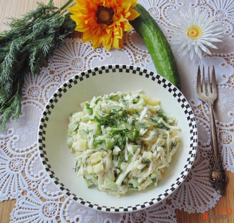 Фото приготовление рецепта: Салат из свежих огурцов и картофеля шаг №9