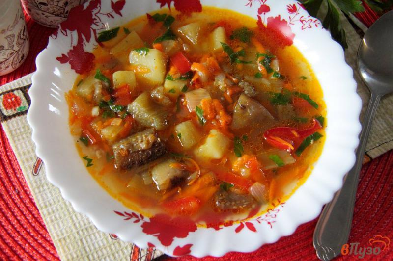 Фото приготовление рецепта: Суп с баклажанами на курином бульоне шаг №10