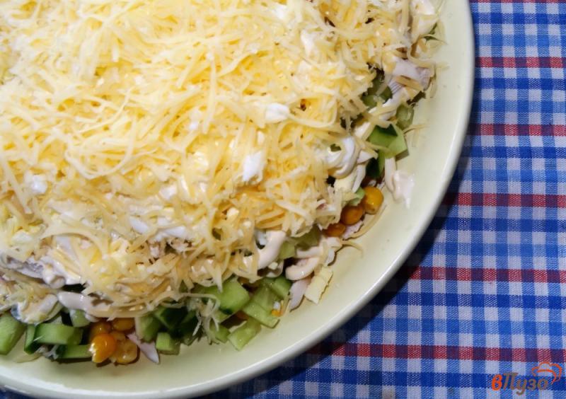 Фото приготовление рецепта: Слоеный салат с курицей и кукурузой шаг №13