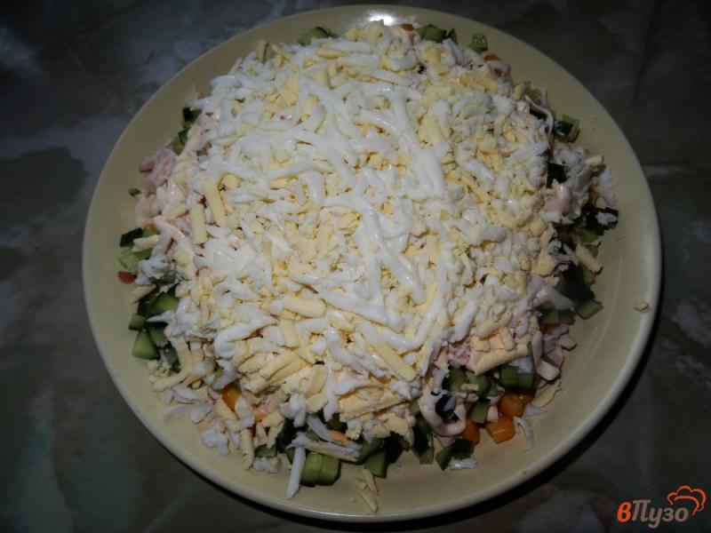 Фото приготовление рецепта: Слоеный салат с курицей и кукурузой шаг №11