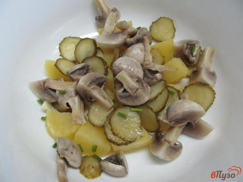 Фото приготовление рецепта: Салат с маринованными шампиньонами и огурцами шаг №3