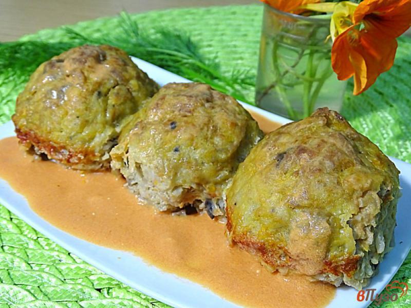Фото приготовление рецепта: Ленивые голубцы рисом,фаршем и грибами шаг №10