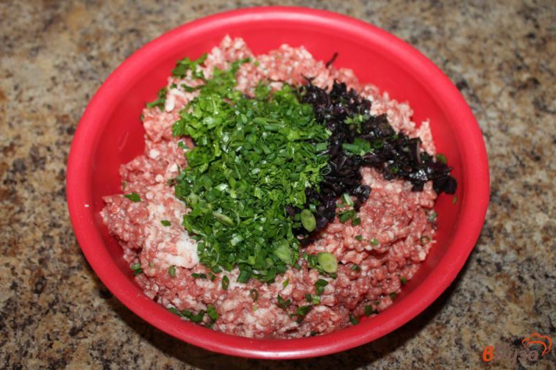 Фото приготовление рецепта: Люля кебаб из свинины с зеленью шаг №2