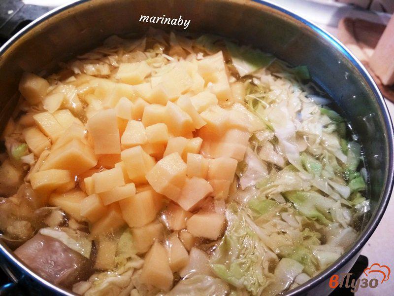 Фото приготовление рецепта: Щи из свежей капусты с курицей шаг №6