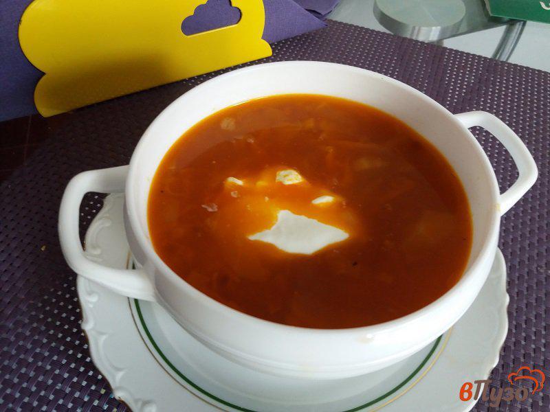 Фото приготовление рецепта: Щи из свежей капусты с томатно-чесночной заправкой шаг №12
