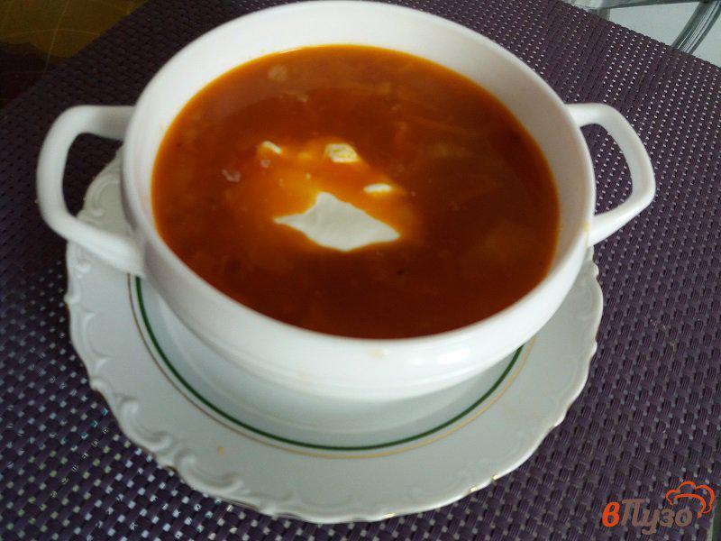 Фото приготовление рецепта: Щи из свежей капусты с томатно-чесночной заправкой шаг №11