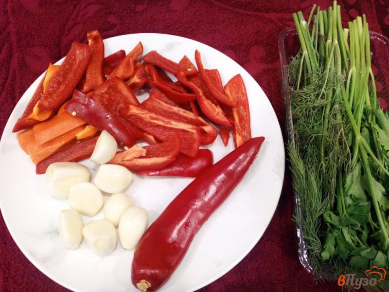 Фото приготовление рецепта: Острая закуска из помидоров и перца без варки шаг №2