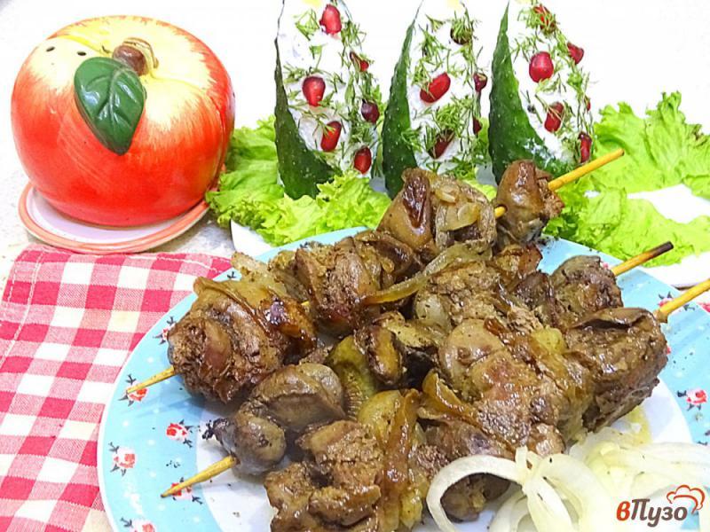 Фото приготовление рецепта: Шашлык из куриной печени шаг №5