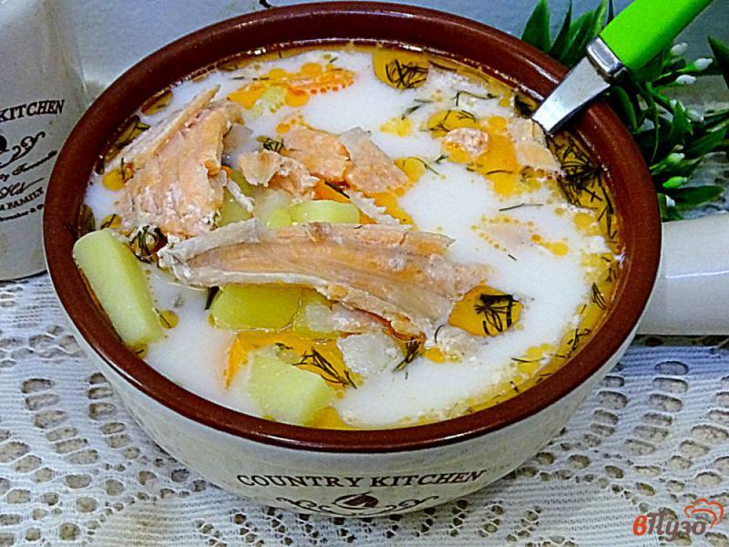 Фото приготовление рецепта: Суп из лосося с плавленым сыром шаг №9