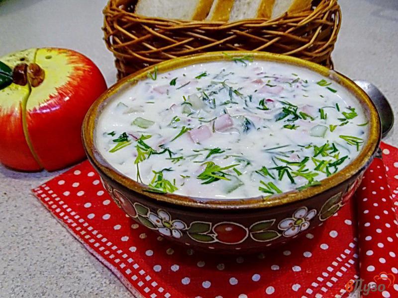 Фото приготовление рецепта: Окрошка на кефире с горчицей и хреном шаг №9