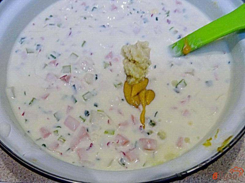 Фото приготовление рецепта: Окрошка на кефире с горчицей и хреном шаг №8
