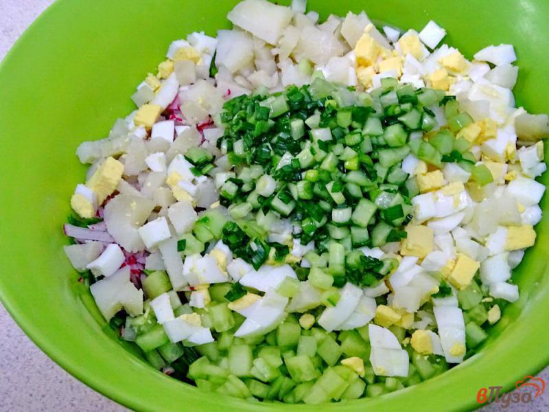 Фото приготовление рецепта: Окрошка на кефире с горчицей и хреном шаг №5