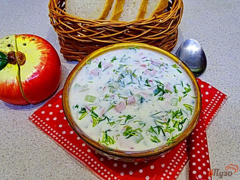 Фото приготовление рецепта: Окрошка на кефире с горчицей и хреном шаг №10