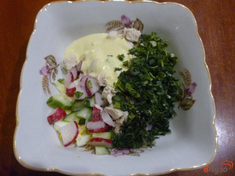 Фото приготовление рецепта: Овощной салат со сметанной заправкой шаг №6