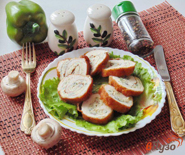 фото рецепта: Куриные рулетики с грибами и яйцами
