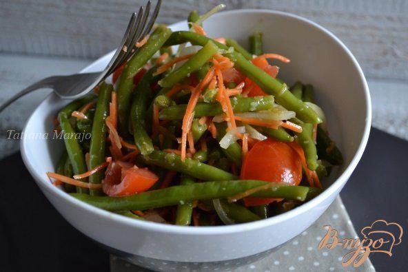 Фото приготовление рецепта: Острый салат из зеленой фасоли шаг №5