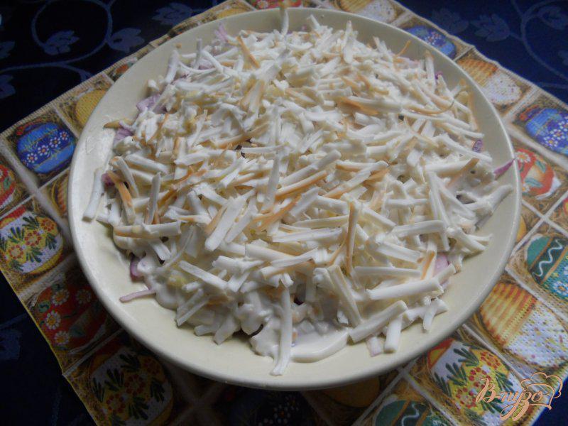 Фото приготовление рецепта: Салат луковый с яблоком и колбасным сыром шаг №5